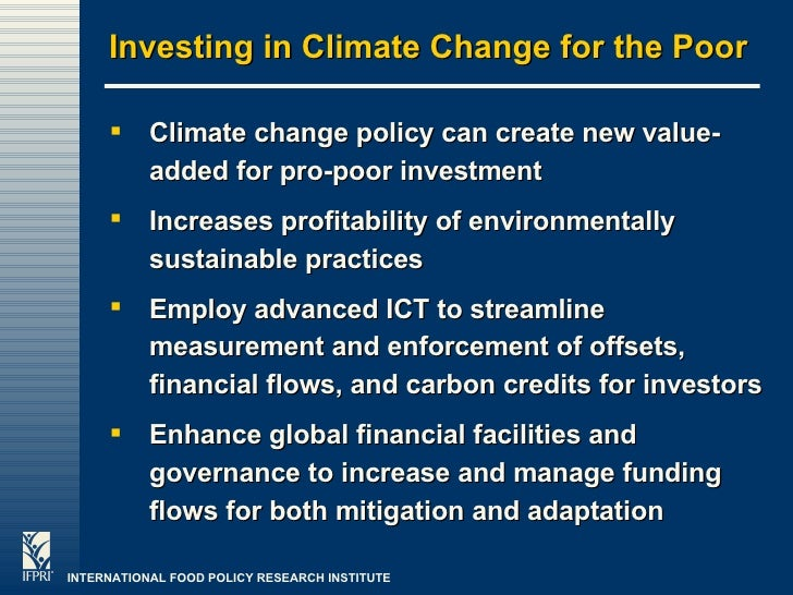 Climate Change, Agricultural Policy and Poverty Reduction