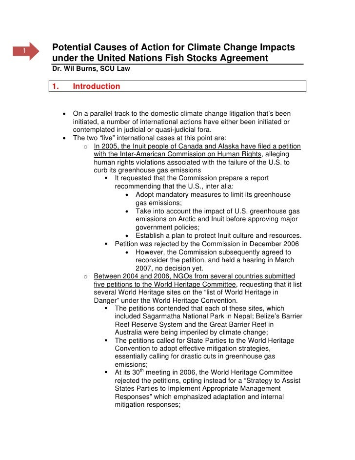 1   Potential Causes of Action for Climate Change Impacts     under the United Nations Fish Stocks Agreement     Dr. Wil B...