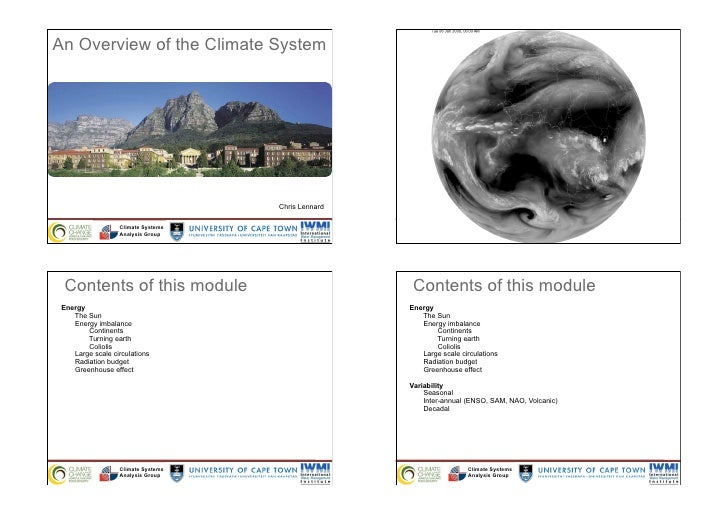 An Overview of the Climate System                                    Chris Lennard                  Climate Systems       ...