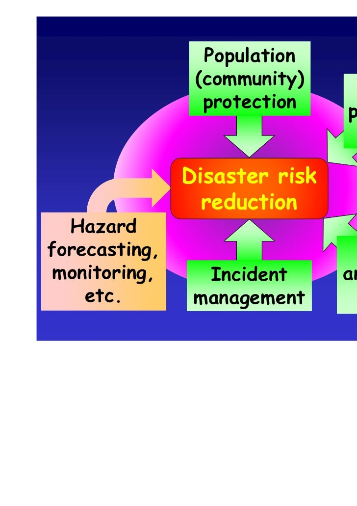 strategies for disaster risk management Disaster risk management includes risk assessment, disaster prevention and mitigation and disaster preparedness it is used in the international debate to underscore the current trend of taking a proactive approach to hazards posed by extreme natural phenomena.