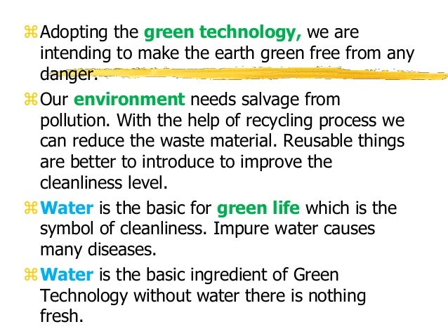 Climate change and green technology Examples of green technology
