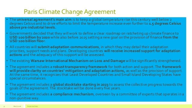 Sustainable Development Goals And The Climate Change Agreement