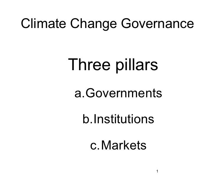 Climate Change Governance      Three pillars       a.Governments        b.Institutions          c.Markets                 ...