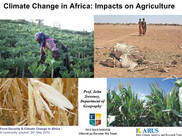 Climate Change in Africa: Impacts on Agriculture Prof. John Sweeney, Department of Geography NUI MAYNOOTH Ollscoil na Éire...