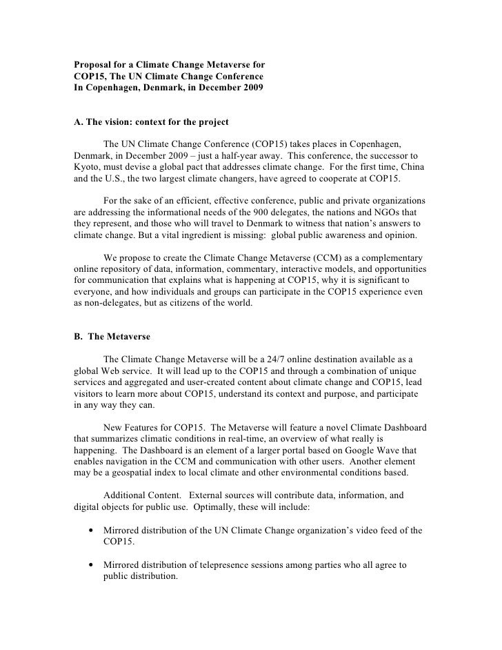 Proposal for a Climate Change Metaverse for COP15, The UN Climate Change Conference In Copenhagen, Denmark, in December 20...