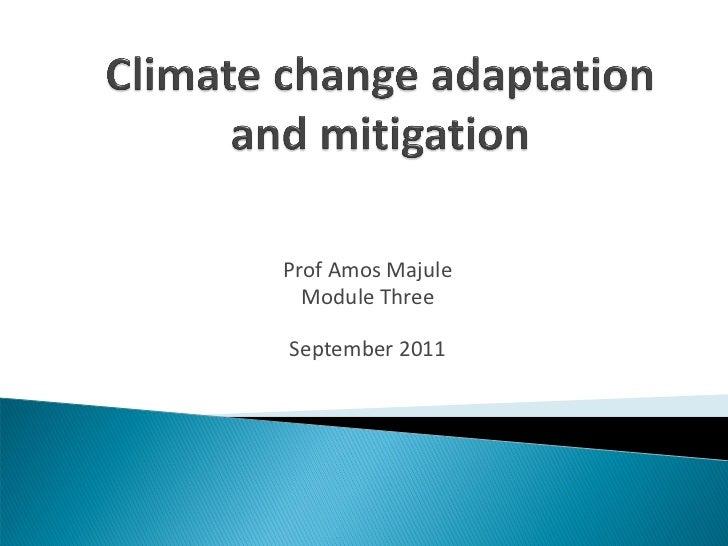 Prof Amos Majule  Module ThreeSeptember 2011