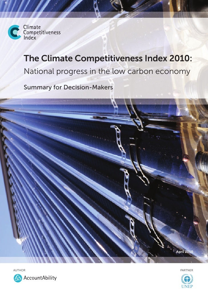 The Climate Competitiveness Index 2010:      National progress in the low carbon economy      Summary for Decision-Makers ...