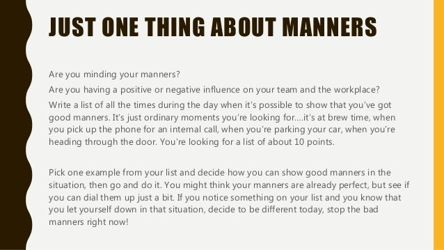 good and bad manners list
