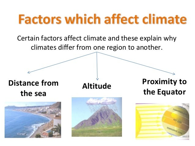 factors affecting climate September 19, 2011 the 6 factors affecting climate lower near water 1) latitude - temperature decreases as latitude increases •areas at the poles experience colder.
