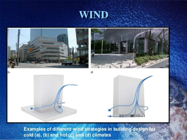 WINDExamples of different wind strategies in building design forcold (a), (b) and hot (c) and (d) climates