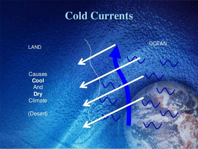 Cold Currents                           OCEANLANDCauses Cool And  DryClimate(Desert)