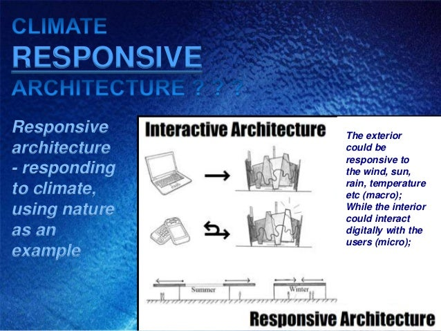 RESPONSIVEResponsive     The exteriorarchitecture   could be               responsive to- responding   the wind, sun,     ...