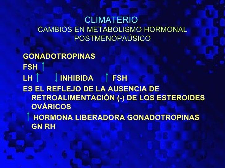 CLIMATERIO   CAMBIOS EN METABOLISMO HORMONAL           POSTMENOPAÚSICOGONADOTROPINASFSHLH       INHIBIDA    FSHES EL REFLE...