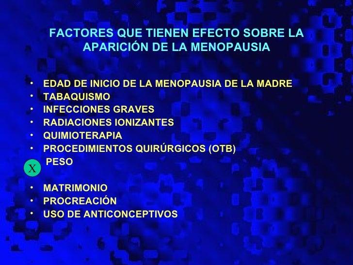 FACTORES QUE TIENEN EFECTO SOBRE LA         APARICIÓN DE LA MENOPAUSIA•   EDAD DE INICIO DE LA MENOPAUSIA DE LA MADRE•   T...
