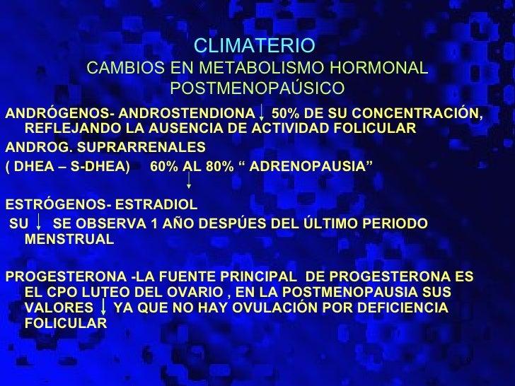 CLIMATERIO         CAMBIOS EN METABOLISMO HORMONAL                 POSTMENOPAÚSICOANDRÓGENOS- ANDROSTENDIONA 50% DE SU CON...