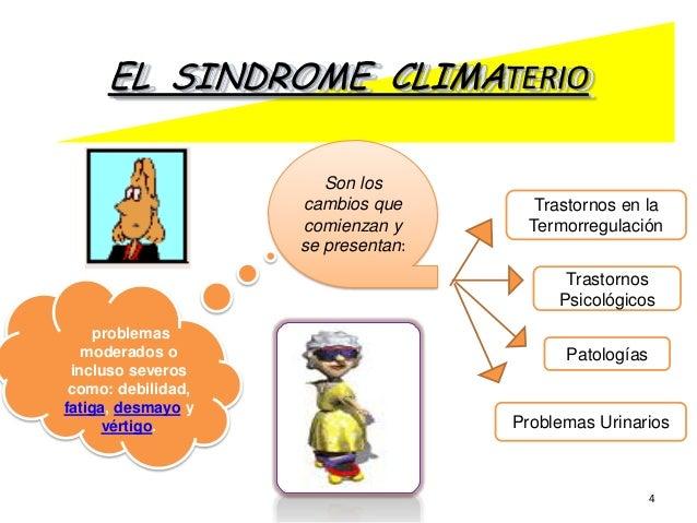 EL SINDROME CLIMATERIO Son los cambios que comienzan y se presentan:  Trastornos en la Termorregulación Trastornos Psicoló...