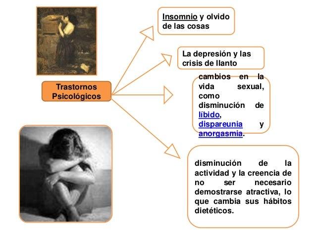 Insomnio y olvido de las cosas  La depresión y las crisis de llanto  Trastornos Psicológicos  cambios en la vida sexual, c...