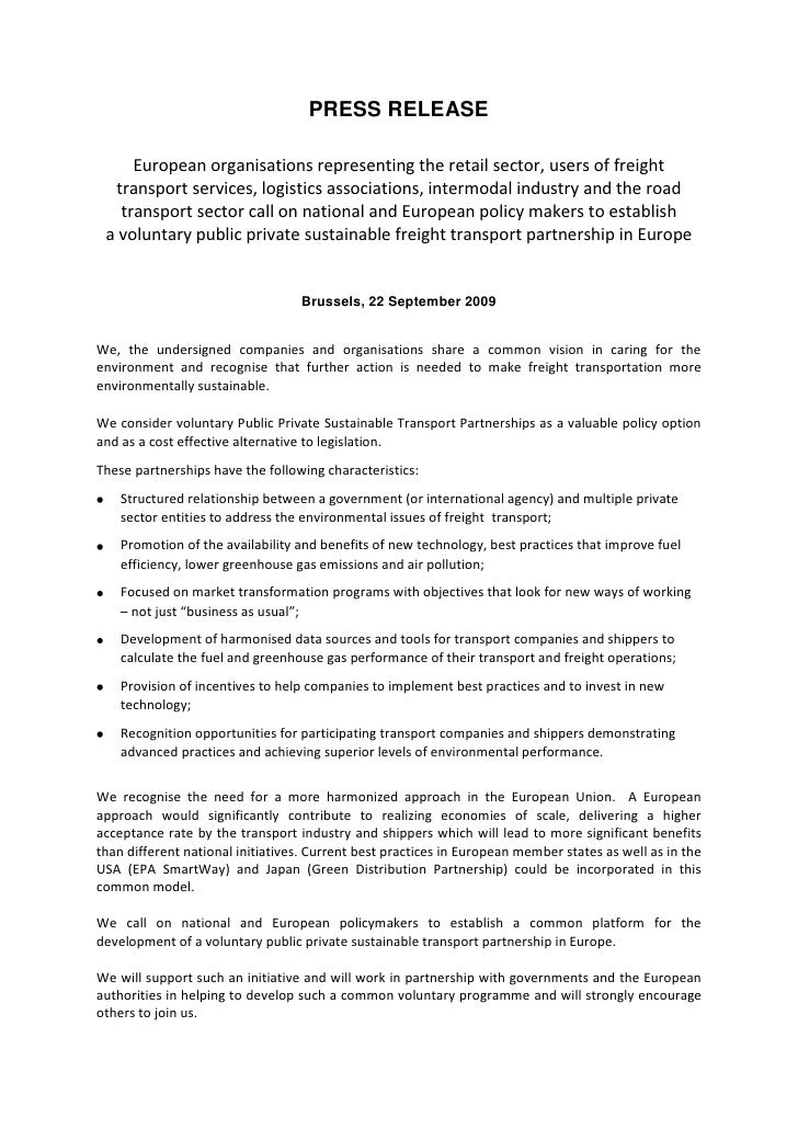 PRESS RELEASE<br />European organisations representing the retail sector, users of freight transport services, logistics a...