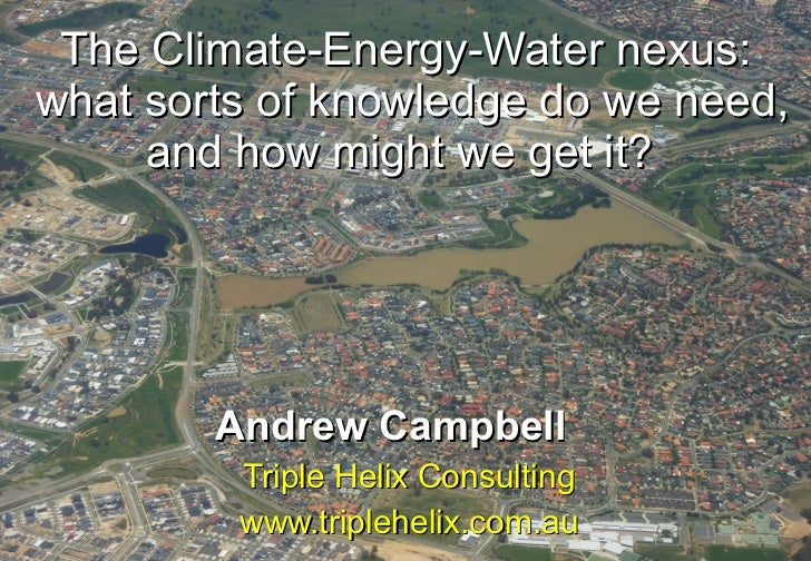The Climate-Energy-Water nexus:  what sorts of knowledge do we need, and how might we get it?   Andrew Campbell   Triple H...