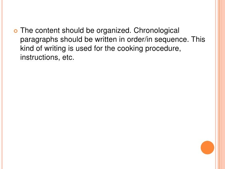 example paragraph of chronological order