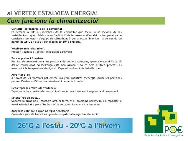 al VÈRTEX ESTALVIEM ENERGIA! Com funciona la climatització? Consells i col·laboració de la comunitat Es demana a tots els ...
