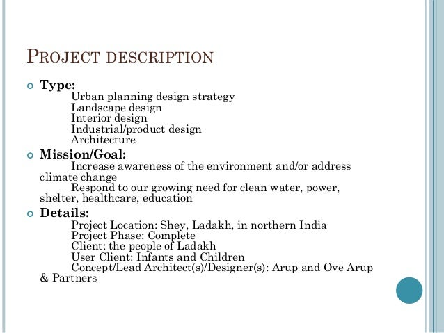 Architecture 2 PROJECT DESCRIPTION Type Urban Planning Design Strategy Landscape Interior