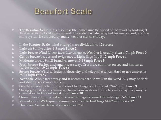  The Beaufort Scale : It is also possible to measure the speed of the wind by looking at its effects on the local environ...