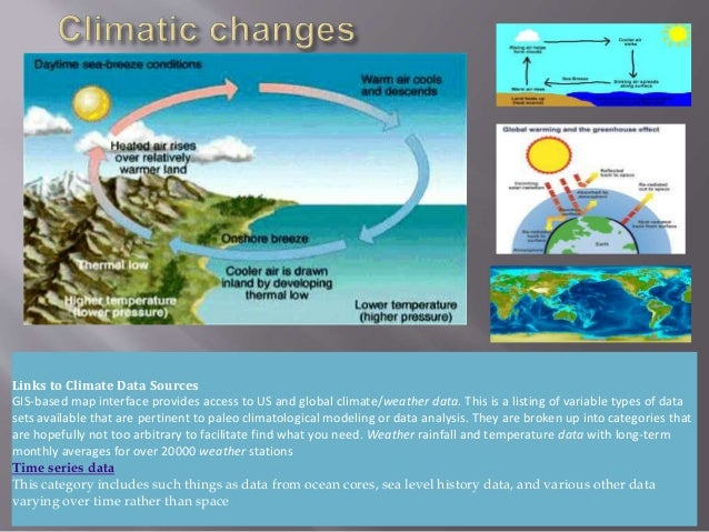 Links to Climate Data Sources GIS-based map interface provides access to US and global climate/weather data. This is a lis...