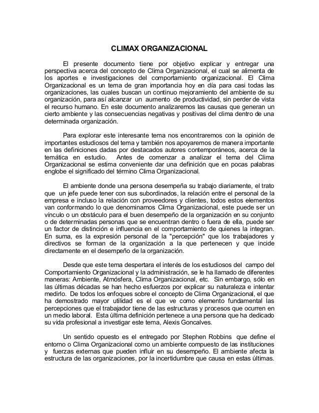 CLIMAX ORGANIZACIONAL El presente documento tiene por objetivo explicar y entregar una perspectiva acerca del concepto de ...