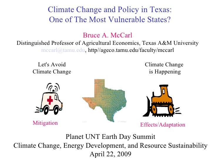 Climate Change and Policy in Texas: One of The Most Vulnerable States? Let's Avoid Climate Change Climate Change  is Happe...