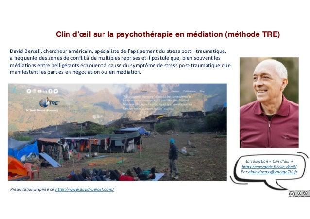 Clin d'œil sur la psychothérapie en médiation (méthode TRE) David Berceli, chercheur américain, spécialiste de l'apaisemen...