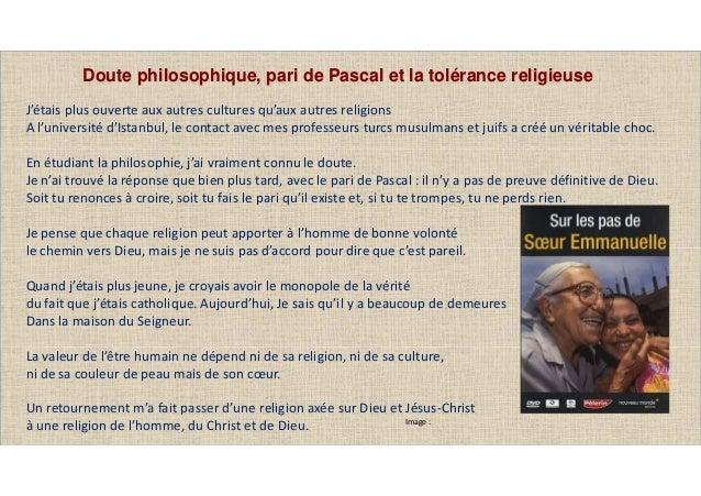 Image : Doute philosophique, pari de Pascal et la tolérance religieuse J'étais plus ouverte aux autres cultures qu'aux aut...