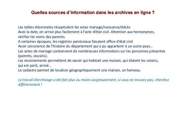 Quelles sources d'information dans les archives en ligne ? Les tables décennales récapitulent les actes mariage/naissance/...