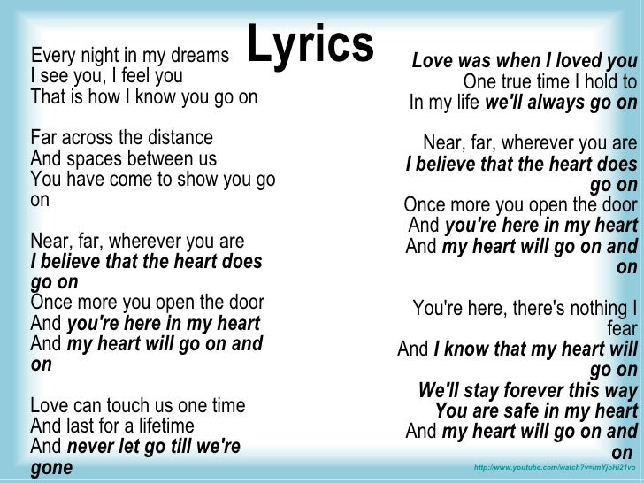 Céline Dion - My Heart Will Go On Lyrics | MetroLyrics