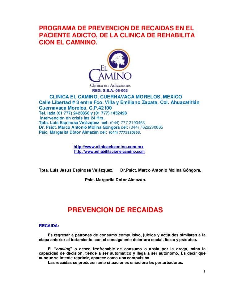 PROGRAMA DE PREVENCION DE RECAIDAS EN ELPACIENTE ADICTO, DE LA CLINICA DE REHABILITACION EL CAMNINO.     CLINICA EL CAMINO...