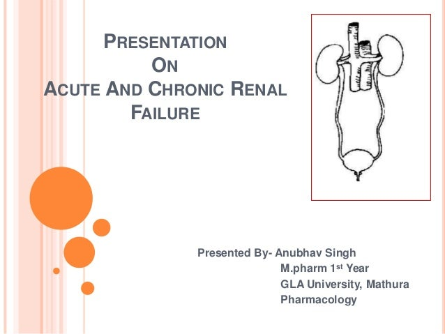 PRESENTATION ON ACUTE AND CHRONIC RENAL FAILURE Presented By- Anubhav Singh M.pharm 1st Year GLA University, Mathura Pharm...