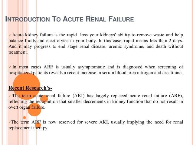 The Renal Failure Essay Sample