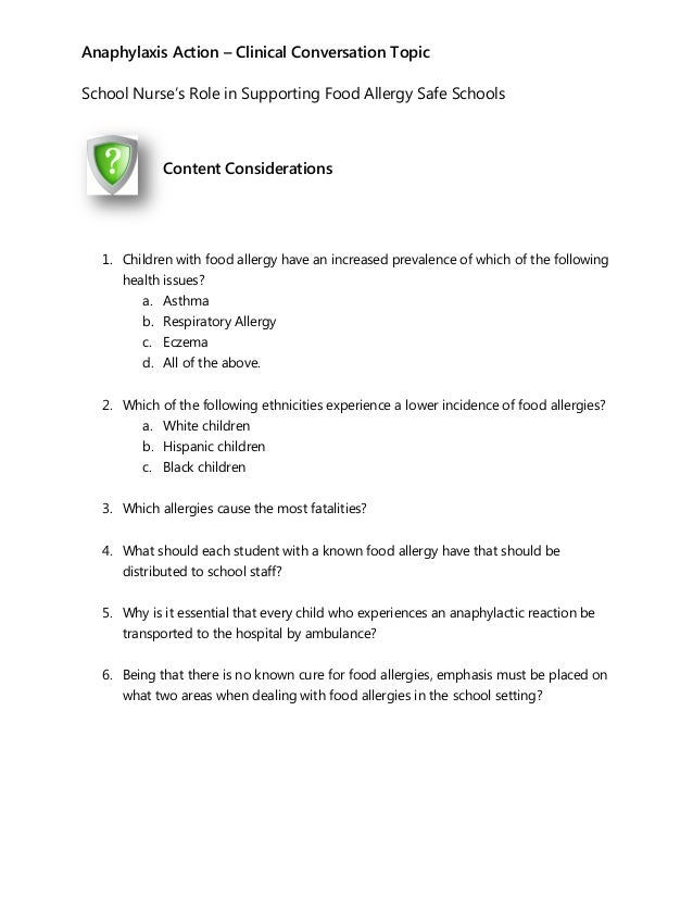 Clinical Conversations for the School Nurse: Food Allergy Management …