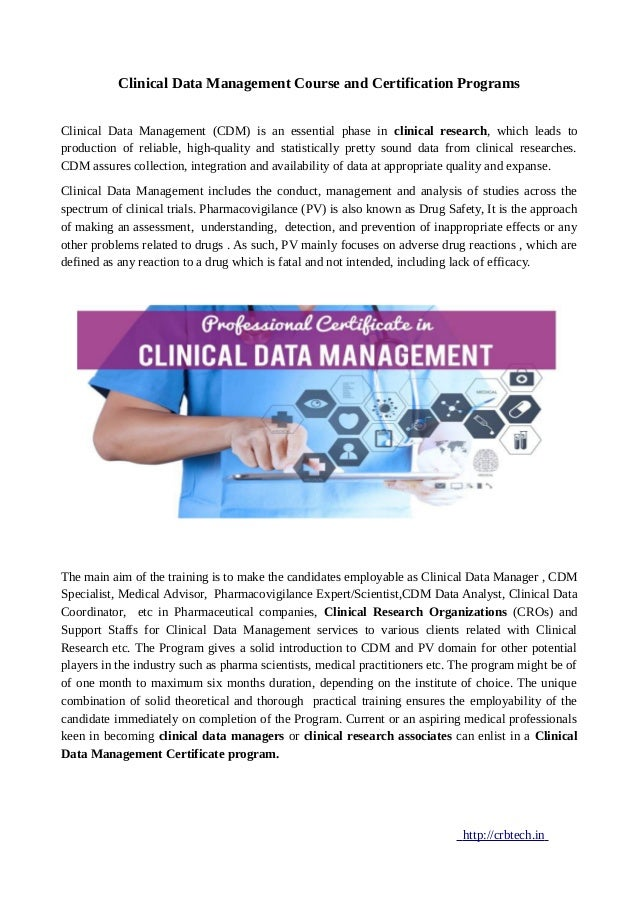 Clinical Data Management Course And Certification Programs