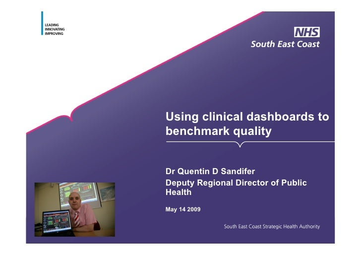 Using clinical dashboards to benchmark quality   Dr Quentin D Sandifer Deputy Regional Director of Public Health May 14 20...