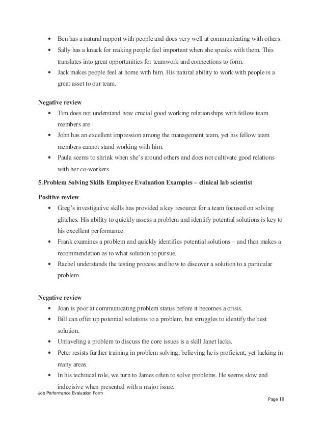 ... review Job Performance Evaluation Form Page 9; 10.