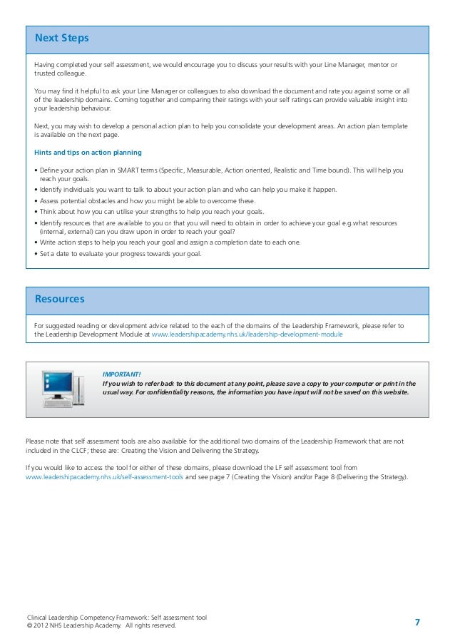 Clinical Leadership Competency Framework SelfAssessmentTool