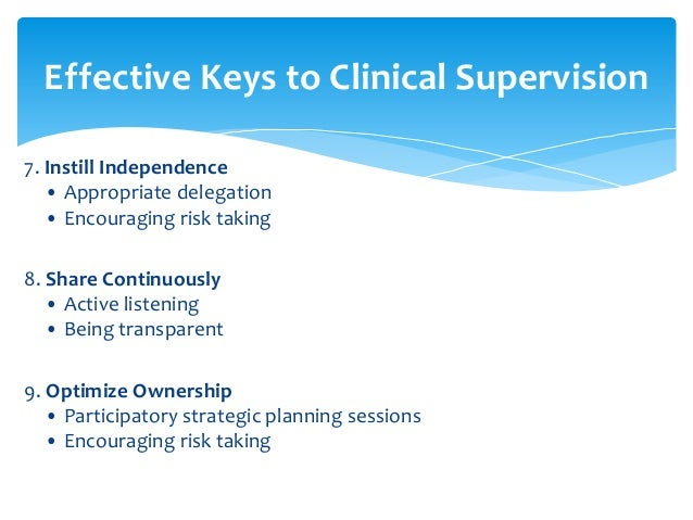 Clinical Model Of Supervision