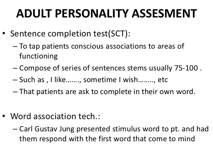 sentence completion test for adults