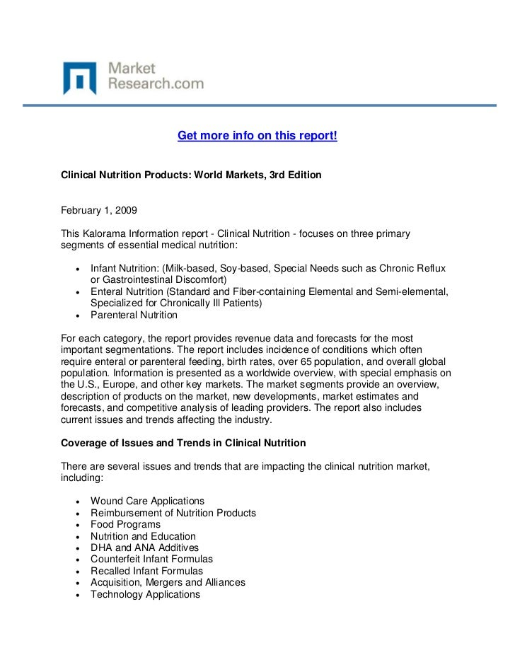 Get more info on this report!Clinical Nutrition Products: World Markets, 3rd EditionFebruary 1...