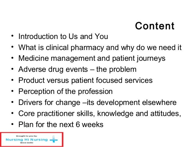 Clinical pharmacy– a key role Slide 2