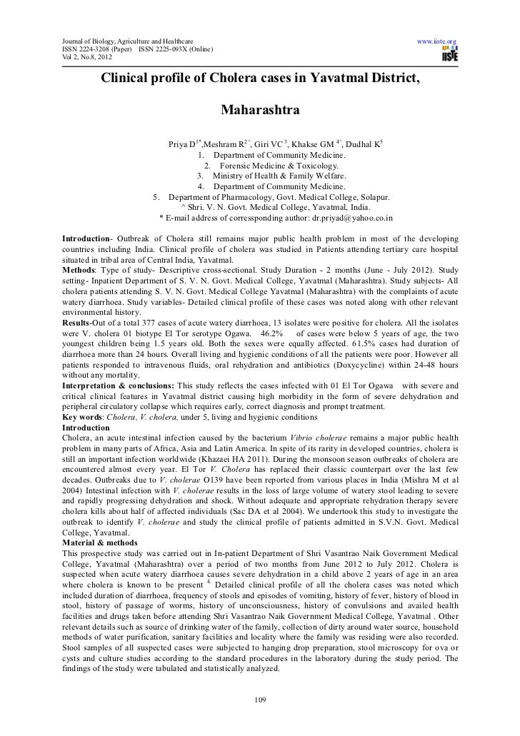 Journal of Biology, Agriculture and Healthcare                                                        www.iiste.orgISSN 22...