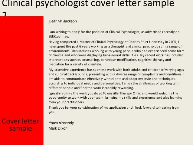 Clinical psychologist cover letter