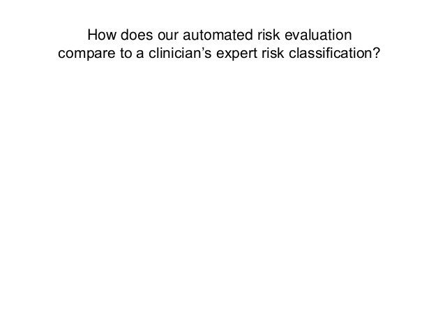 How does our automated risk evaluationcompare to a clinician's expert risk classification?