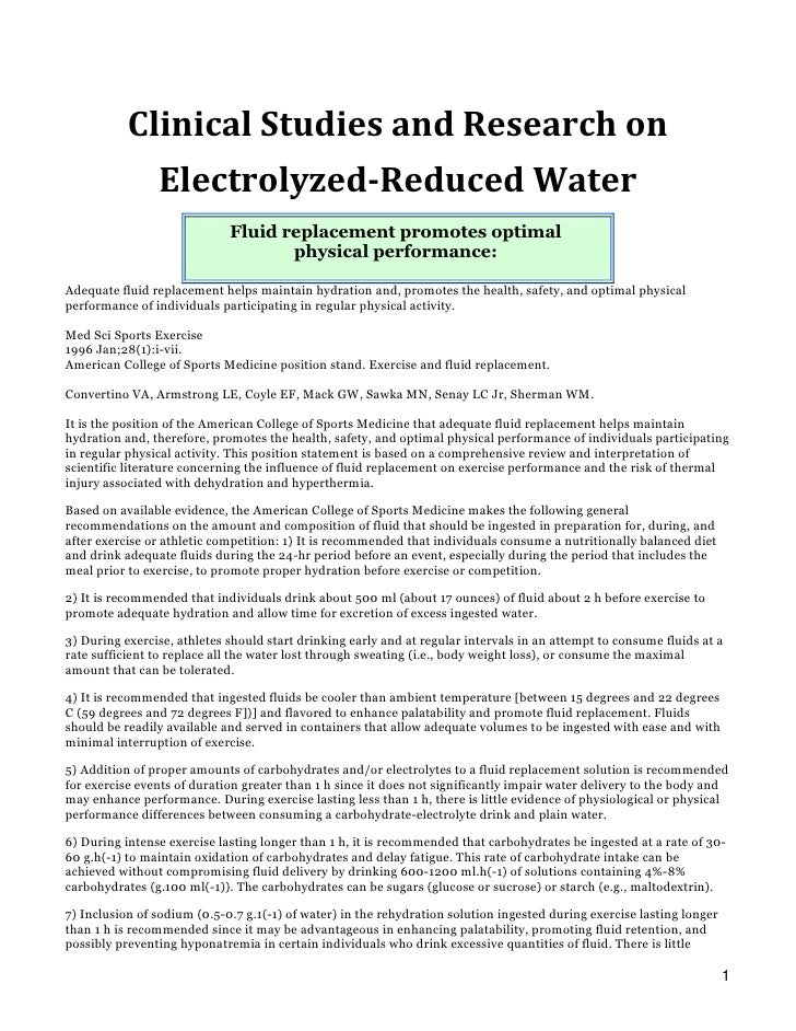 Clinical Studies and Research on                 Electrolyzed-Reduced Water                              Fluid replacement...
